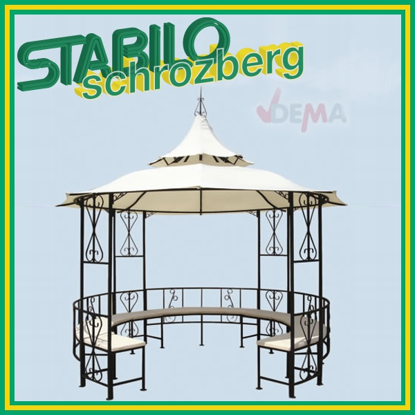 pavillon metall gartenpavillon rundpavillon mit bank 917485 ebay. Black Bedroom Furniture Sets. Home Design Ideas
