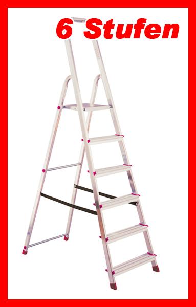 krause haushaltsleiter stehleiter trittleiter leiter 6 stufen 27041. Black Bedroom Furniture Sets. Home Design Ideas