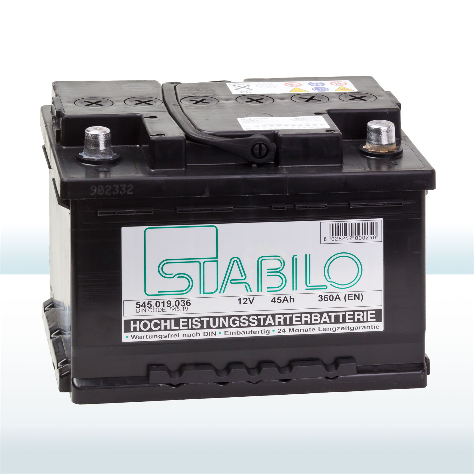 149004 autobatterie starterbatterie 12v 45ah 360 ah kfz. Black Bedroom Furniture Sets. Home Design Ideas