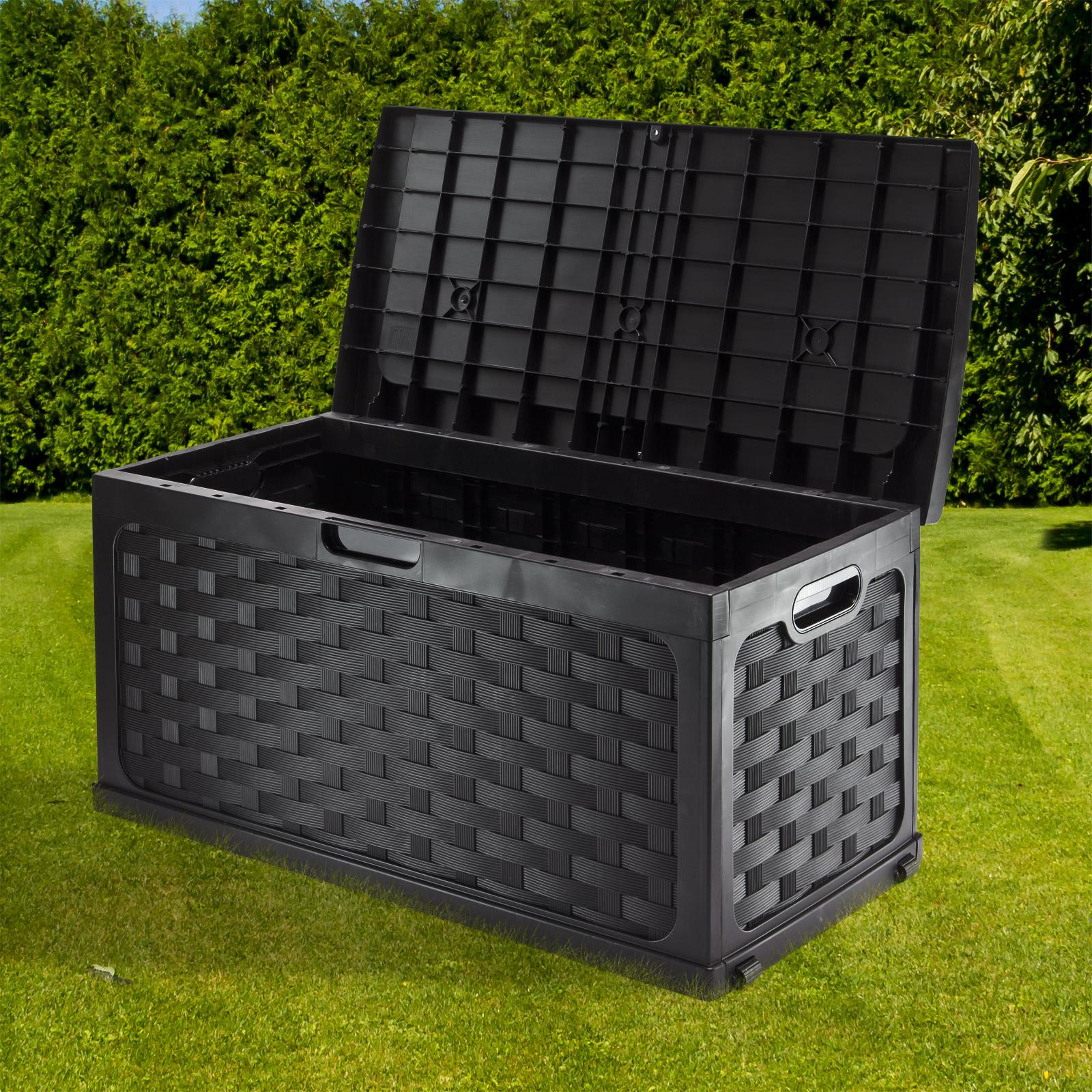 rattan optik auflagenbox kissenbox kissentruhe gartenbox truhe schwarzgrau 10056 ebay. Black Bedroom Furniture Sets. Home Design Ideas
