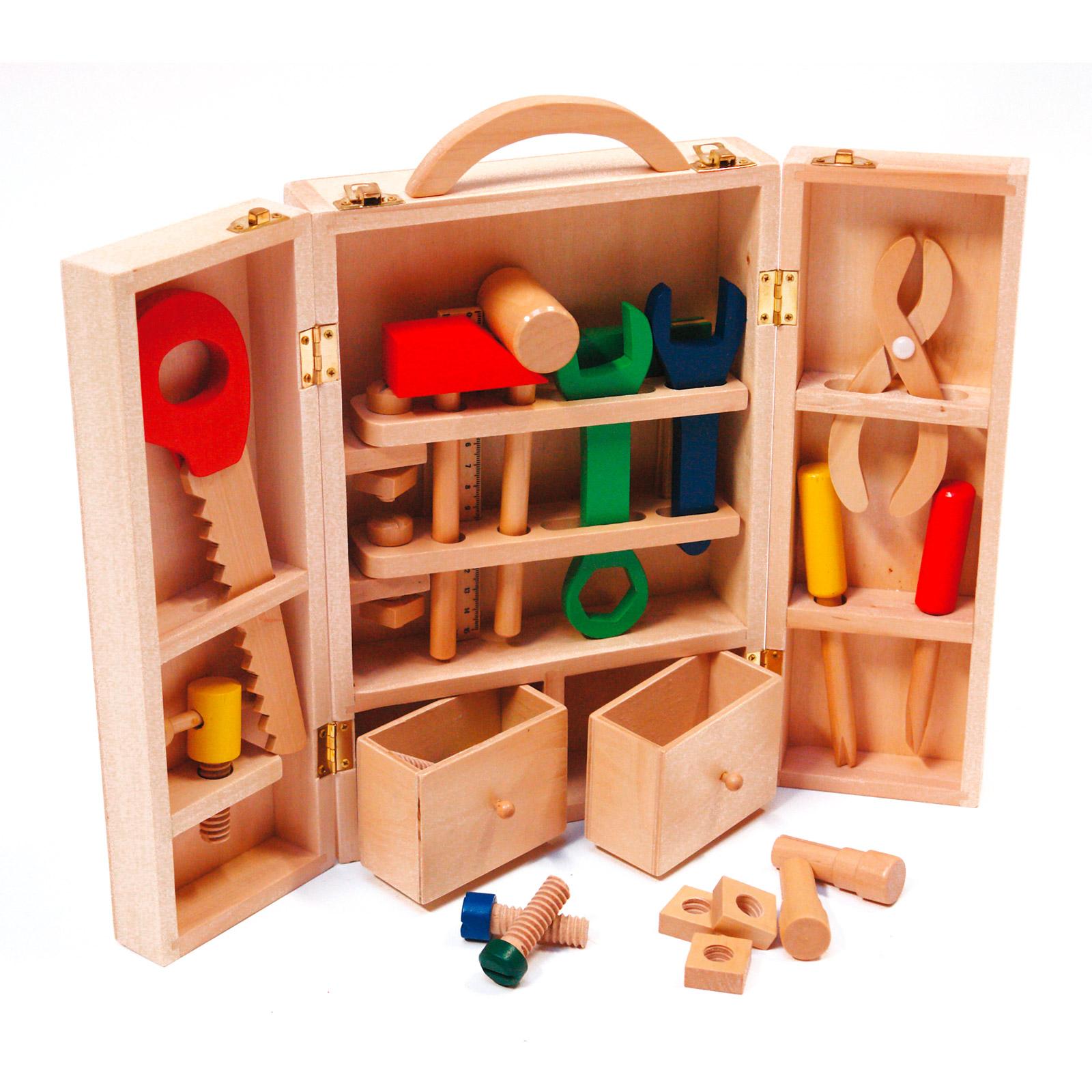 holzwerkzeug holzspielzeug werkzeugkoffer schreiner box. Black Bedroom Furniture Sets. Home Design Ideas
