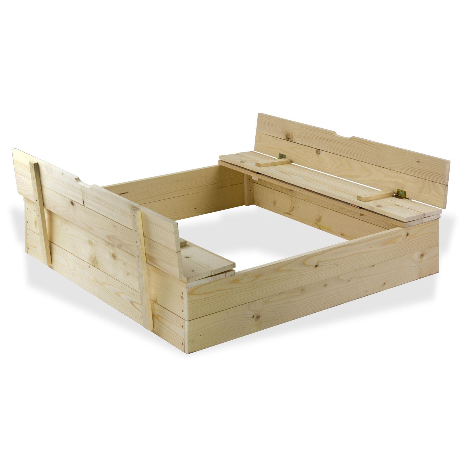 sandkasten mit b nke bank sandkiste aus holz mit deckel buddelkiste neu 17016 ebay. Black Bedroom Furniture Sets. Home Design Ideas