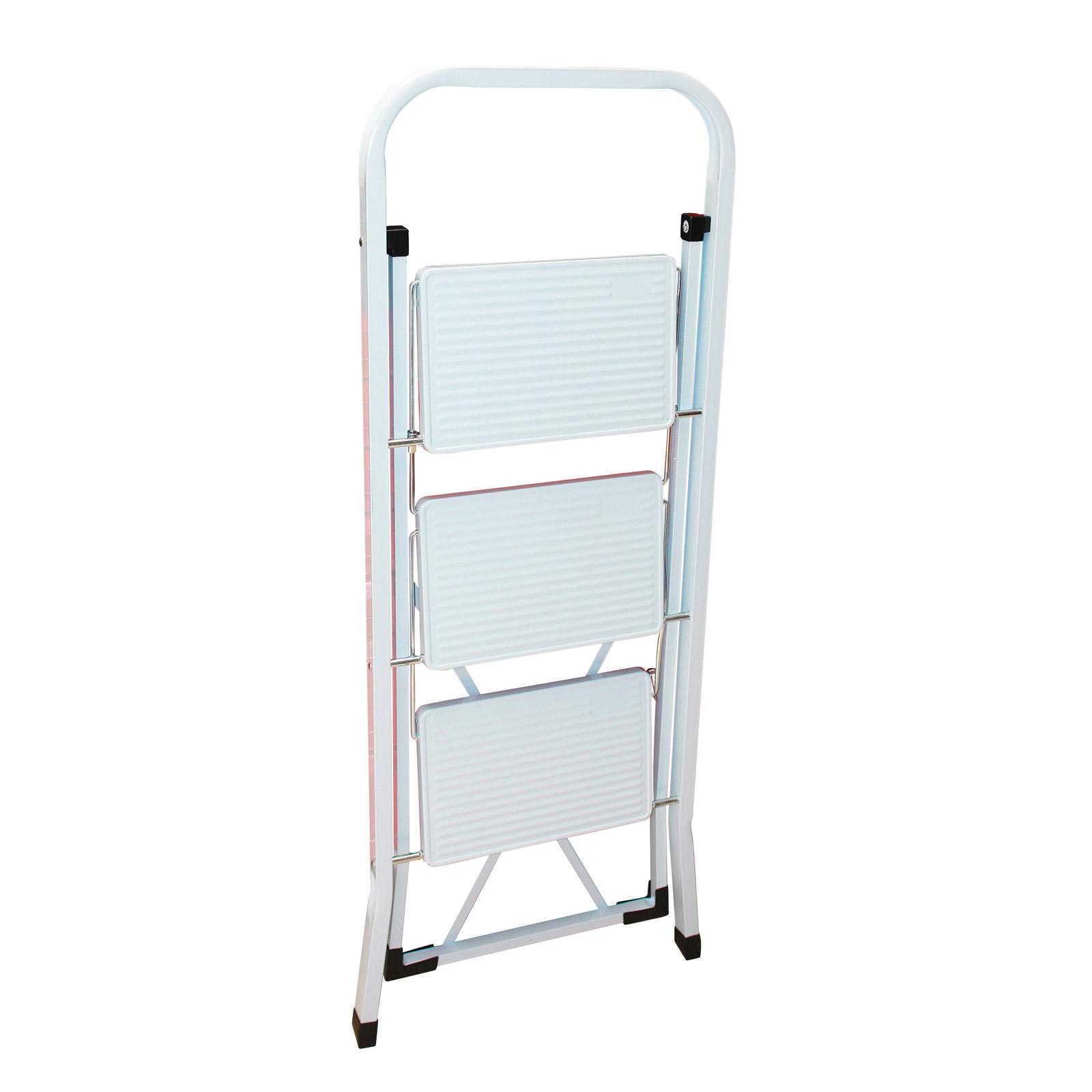 klapptritt leiter haushaltsleiter klappleiter tritt 3 stufen 150kg weiss 911179 ebay. Black Bedroom Furniture Sets. Home Design Ideas