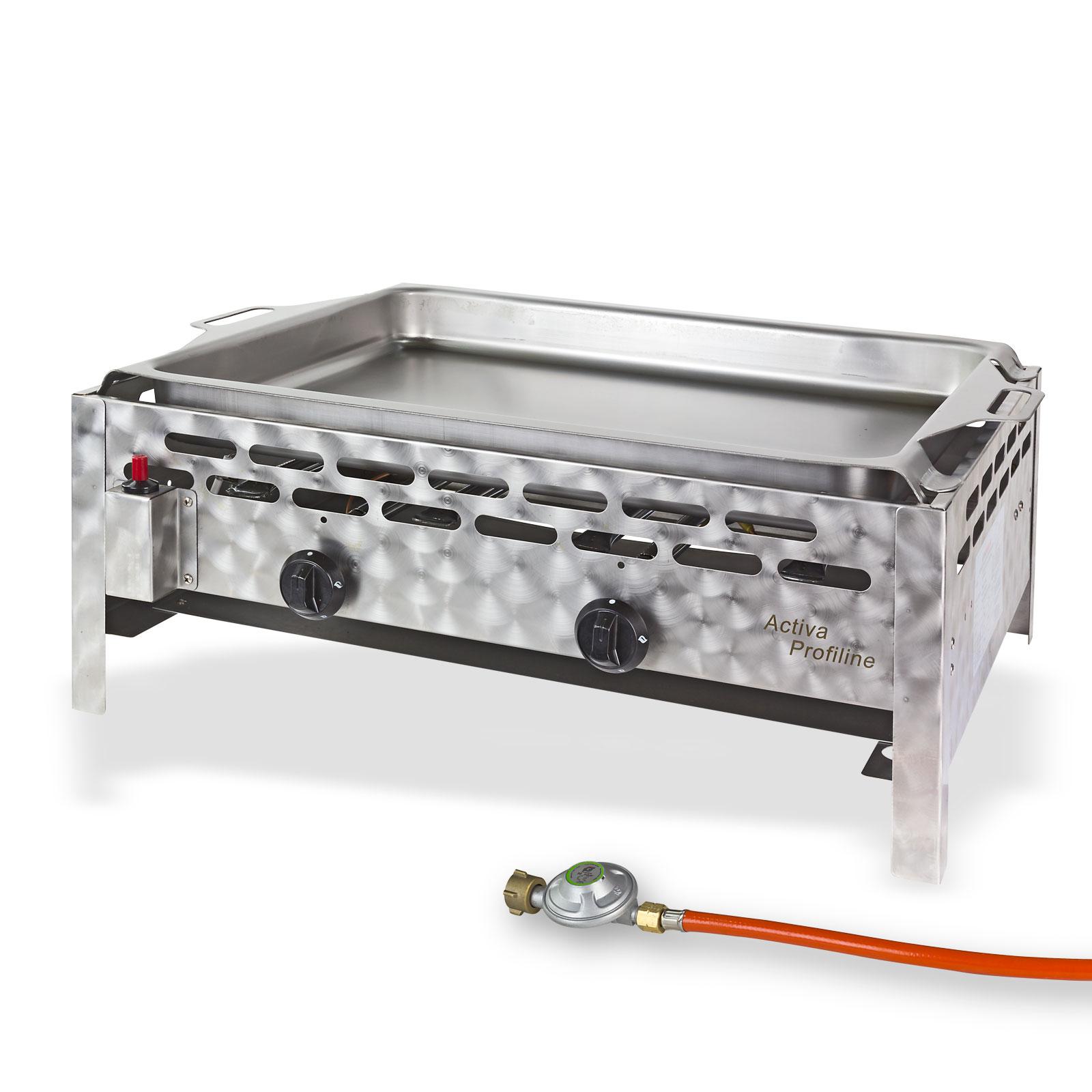 activia gasgrill gasbr ter gastrobr ter grill 2 flammig stahlpfanne 10 kw 17544 ebay. Black Bedroom Furniture Sets. Home Design Ideas