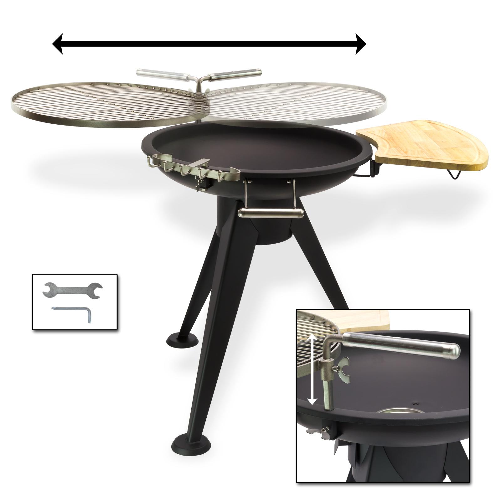 edelstahl rundgrill drehbar holzkohlegrill grill 55 cm ebay. Black Bedroom Furniture Sets. Home Design Ideas