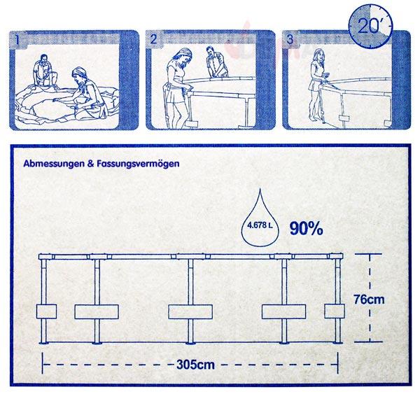 Gartenpool schwimmbecken swimmingpool 305 cm 17627 for Gartenpool 3 meter