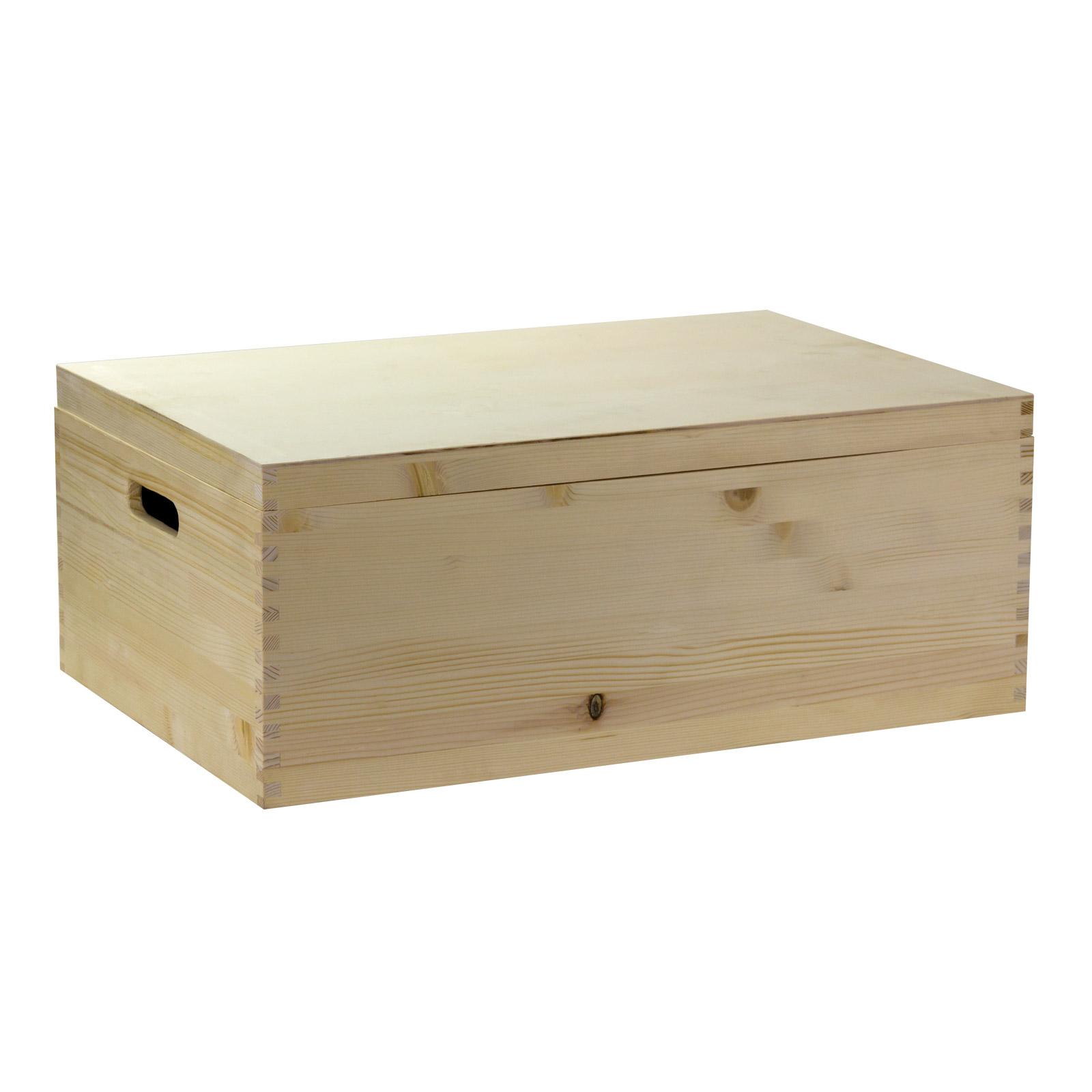 aufbewahrungsbox holzkiste mit deckel und griffl chern vollholz 60x40x24 cm ebay. Black Bedroom Furniture Sets. Home Design Ideas