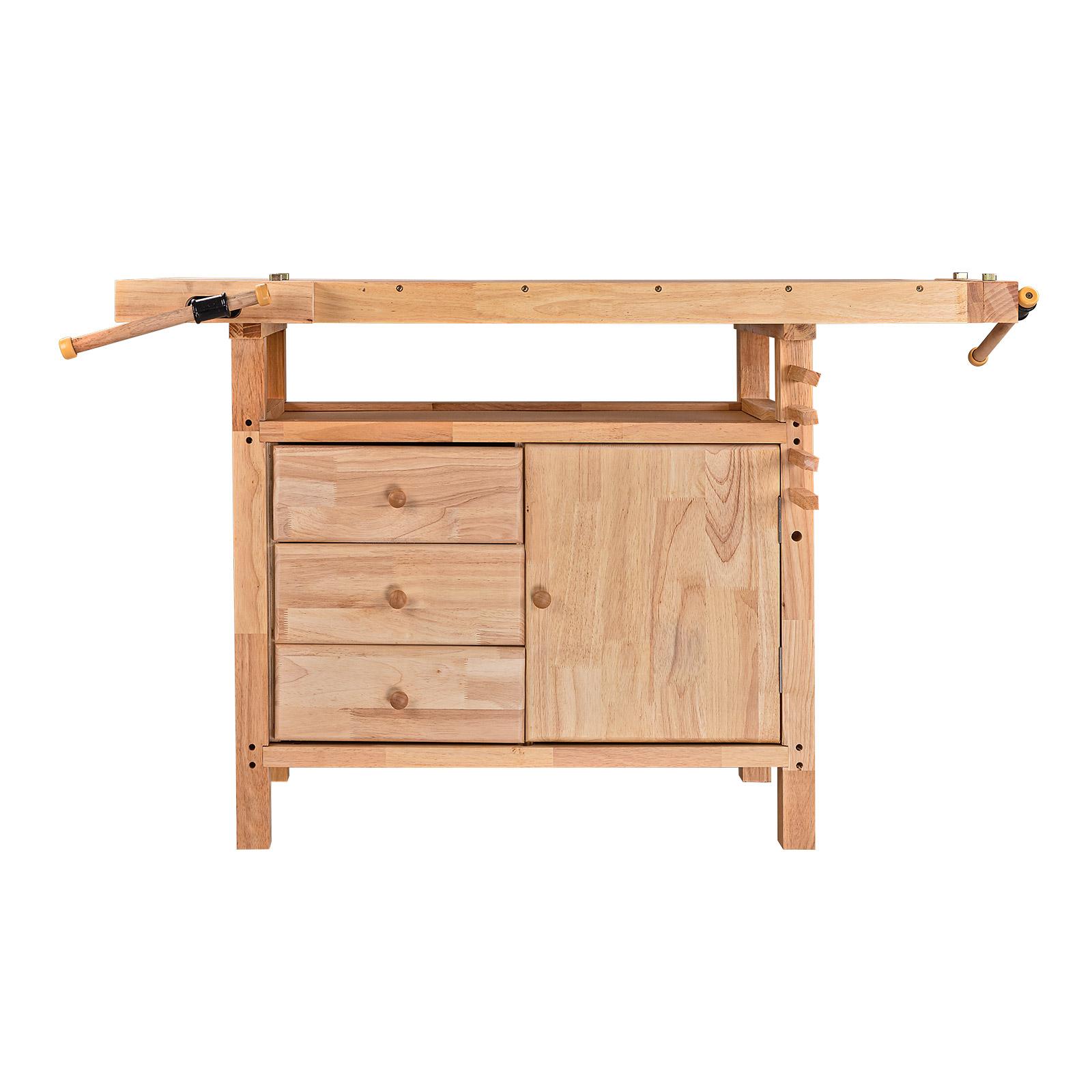 holz werkbank holztisch hobelbank werktisch mit schubladen schraubstock massiv ebay. Black Bedroom Furniture Sets. Home Design Ideas