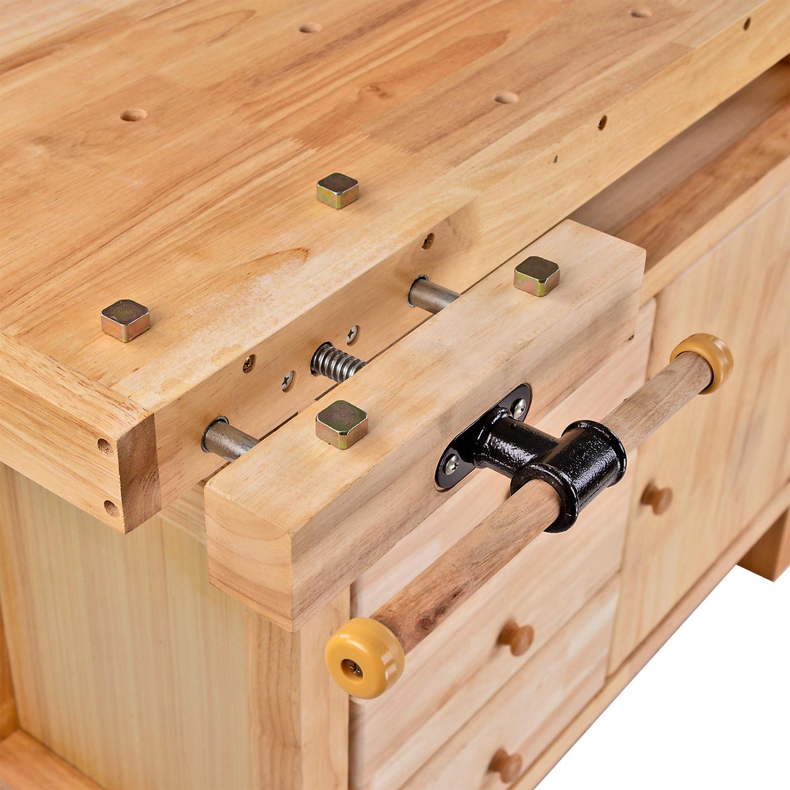 holz werkbank holztisch hobelbank werktisch mit schubladen. Black Bedroom Furniture Sets. Home Design Ideas