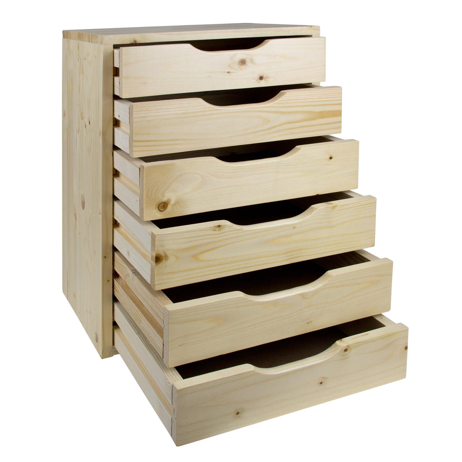 holzbox holz schubladenbox aufbewahrungsbox nachttisch holzablage 6 schubl 40539 ebay. Black Bedroom Furniture Sets. Home Design Ideas