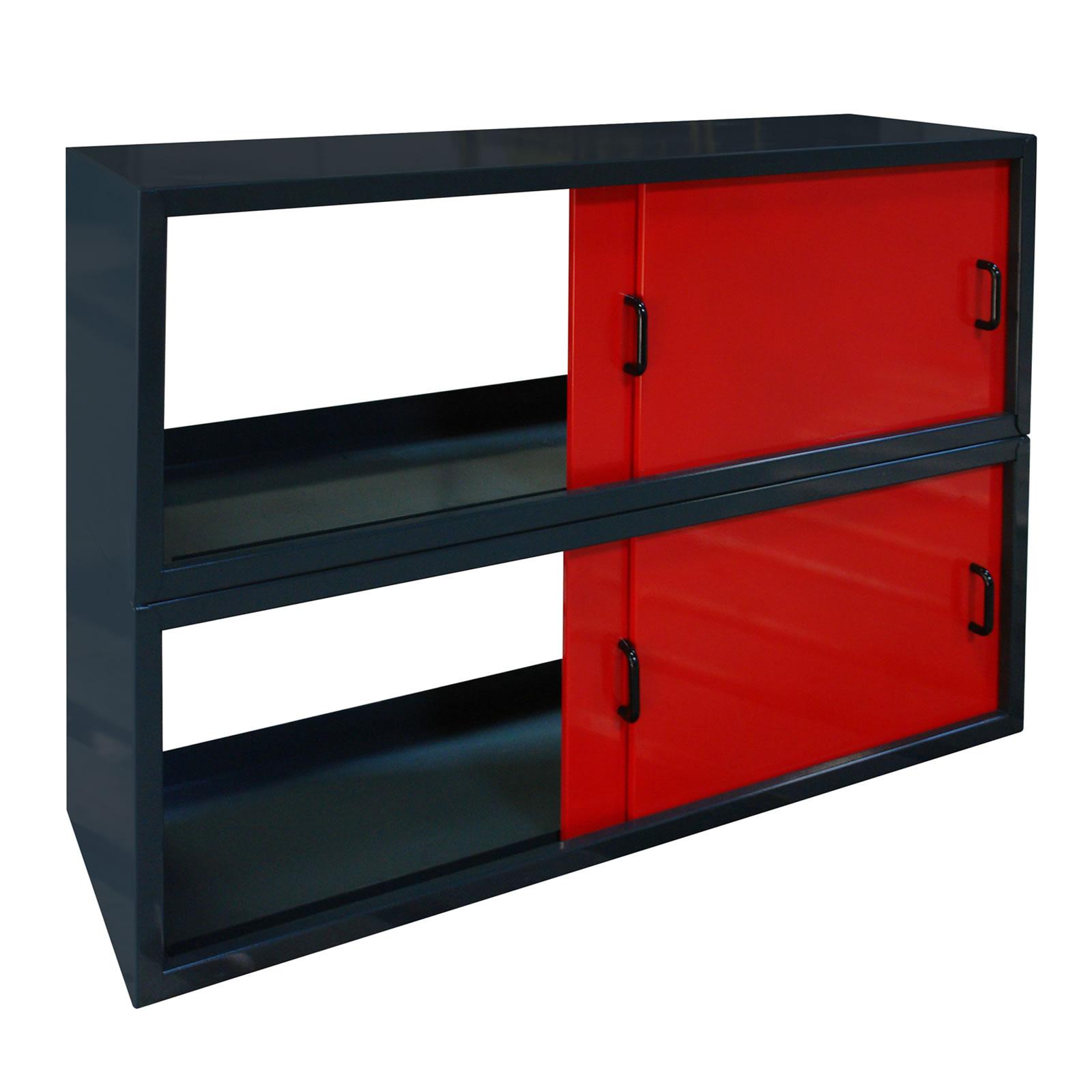 metall wandschrank h ngeschrank 2x2 schiebet ren f r garage werkstatt rot anthr ebay. Black Bedroom Furniture Sets. Home Design Ideas