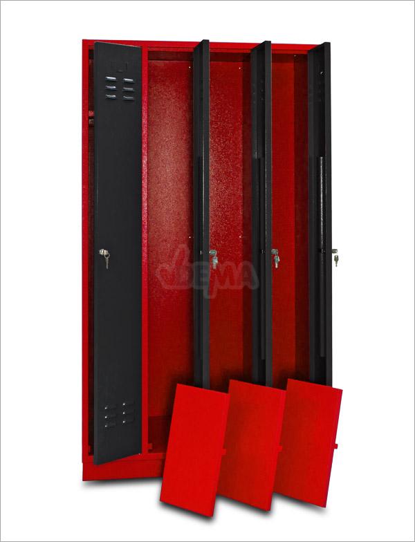 spind garderobe kleiderschrank 4 trg schloss rot anthrazit metallschrank 40618 ebay. Black Bedroom Furniture Sets. Home Design Ideas