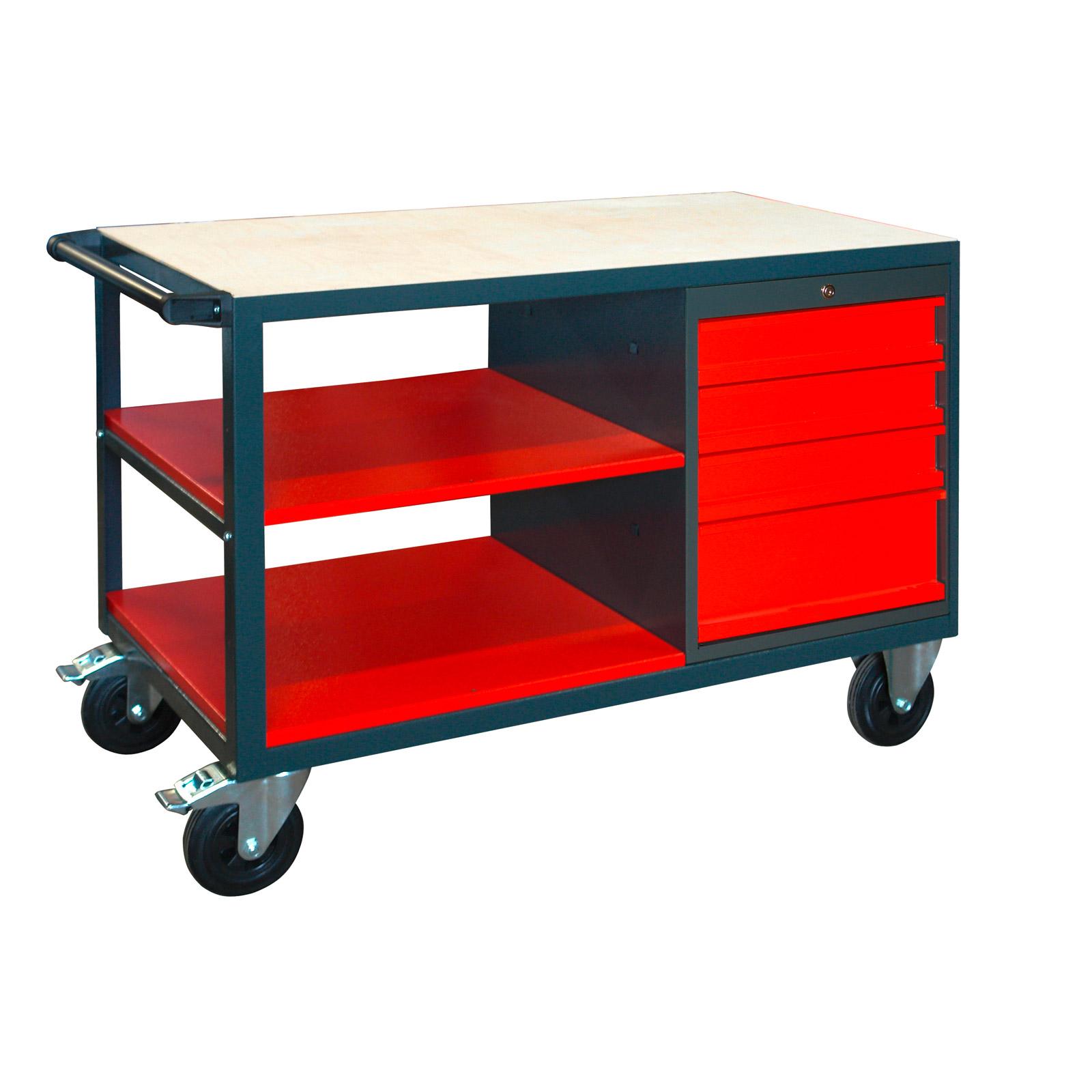 werkbank arbeitstisch m rollen abschlie baren schubladen ablagen werkstattwagen ebay. Black Bedroom Furniture Sets. Home Design Ideas