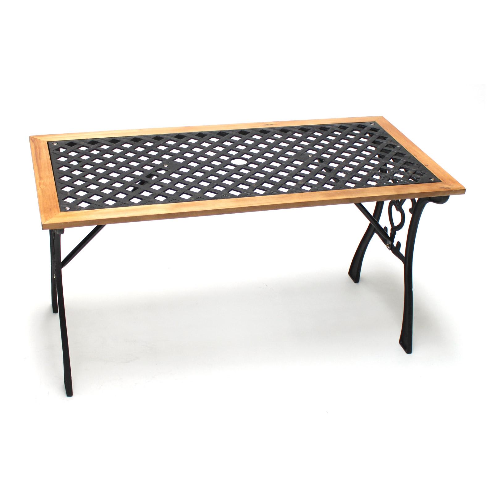 910446 Gartentisch Garten Tisch Guss Holz Parkbanktisch