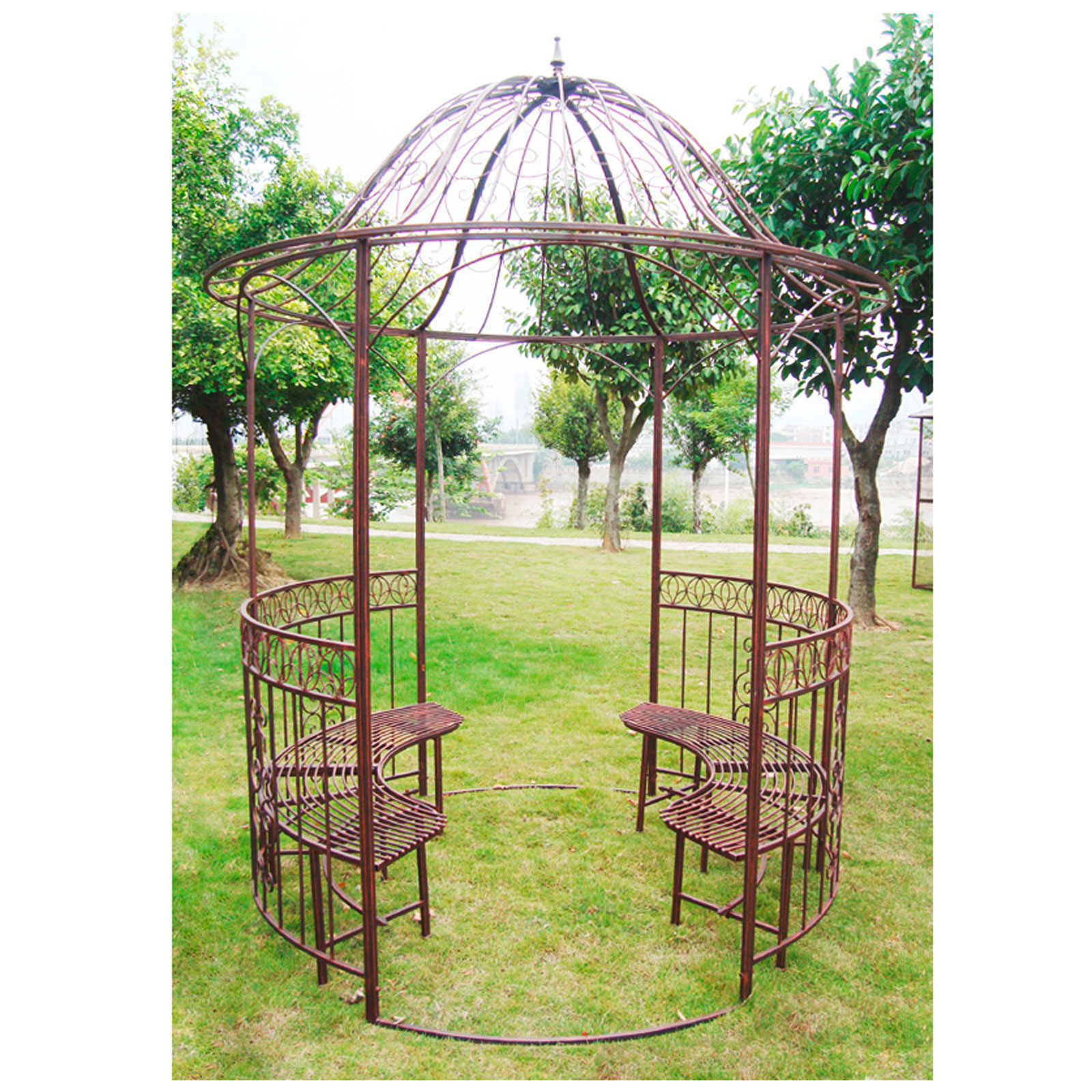 metall pavillon sun runder gartenpavillon mit bank gartenbank pergola rankhilfe ebay. Black Bedroom Furniture Sets. Home Design Ideas