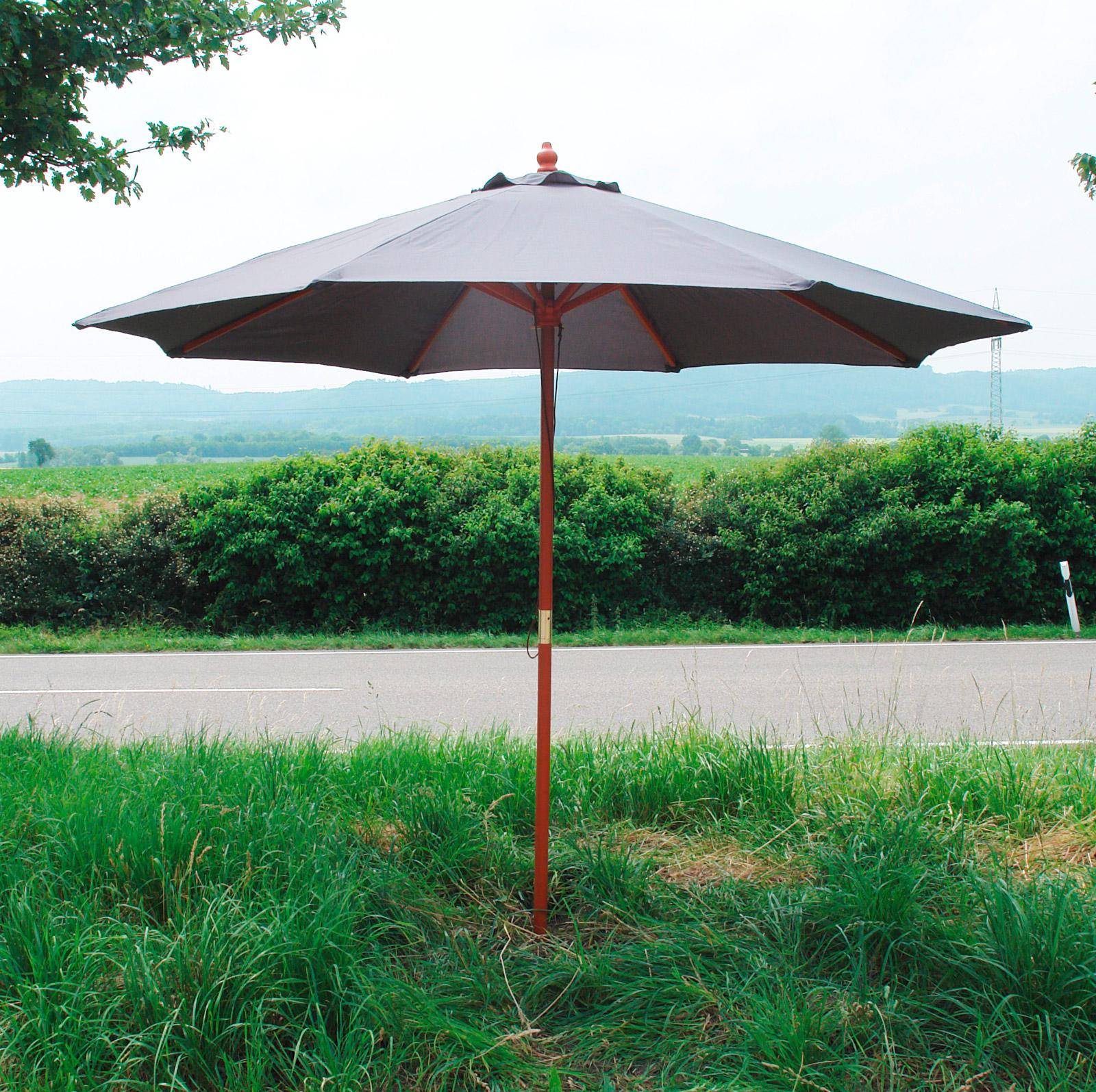 911926 holz sonnenschirm sonnenschutz gartenschirm schirm grau 2 7m ebay. Black Bedroom Furniture Sets. Home Design Ideas