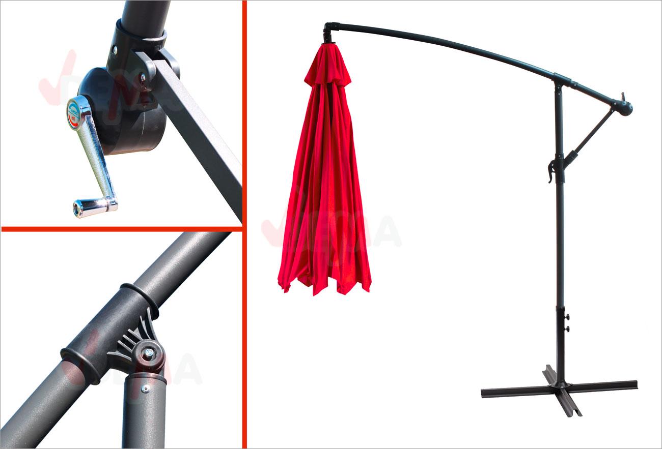 schirm sonnenschirm ampelschirm gartenschirm kurbelschirm 3 5m 350cm rot ebay. Black Bedroom Furniture Sets. Home Design Ideas