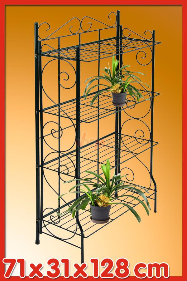 918435 regal pflanzenregal landhausstil blumenregal metall standregal 128cm gr n ebay. Black Bedroom Furniture Sets. Home Design Ideas