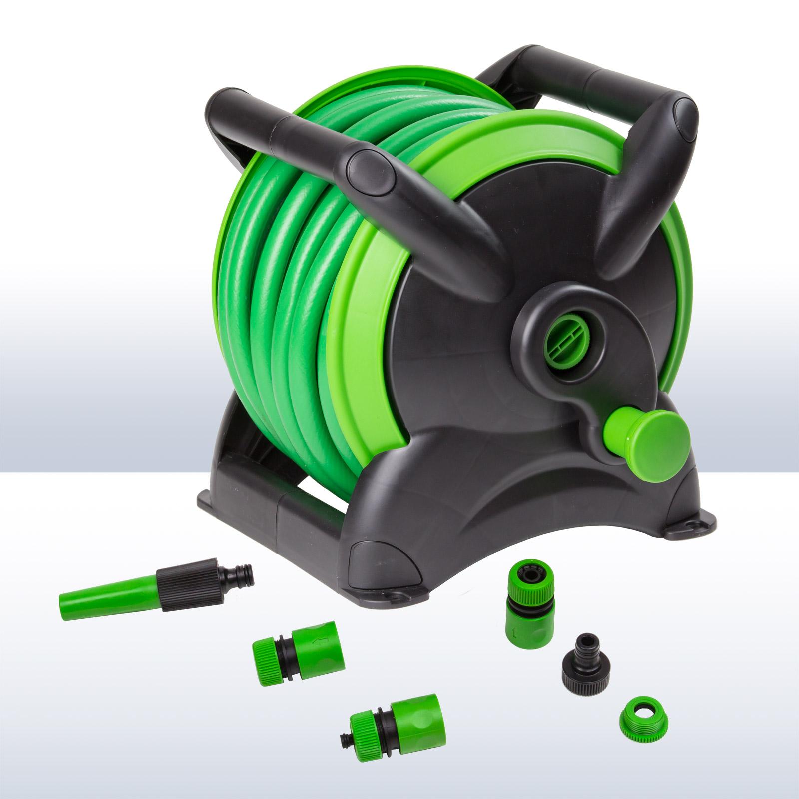 gartenschlauch wasserschlauch 15m mit schlauchtrommel spritze adapter 3 4 1 2 ebay. Black Bedroom Furniture Sets. Home Design Ideas