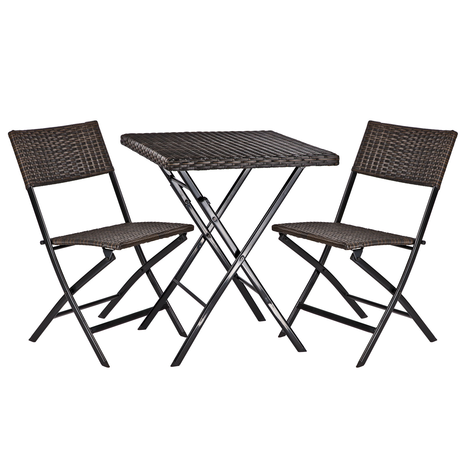 balkonm bel gartenset balkonset tisch 2 st hle klappbar poly rattan 919779 ebay. Black Bedroom Furniture Sets. Home Design Ideas