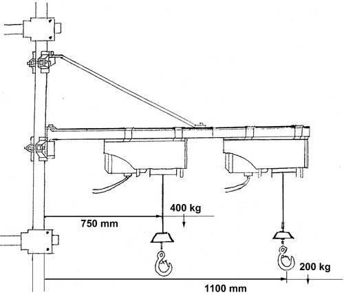 potence de palan bras pivotant type 1200 100 600 kg. Black Bedroom Furniture Sets. Home Design Ideas