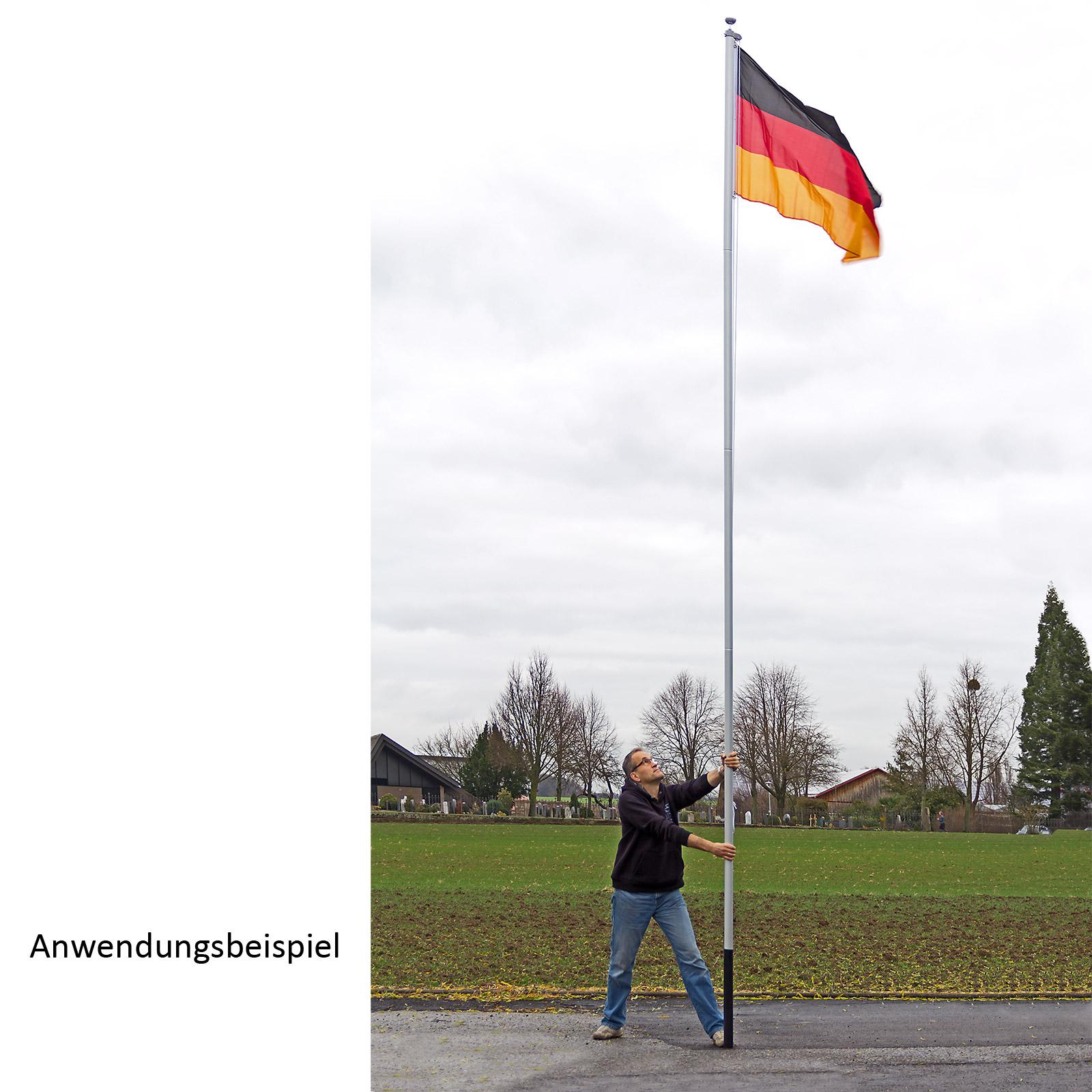 fahnenmast flaggenmast alu steckbar 6 10m mit deutschland fahne 921185 ebay. Black Bedroom Furniture Sets. Home Design Ideas